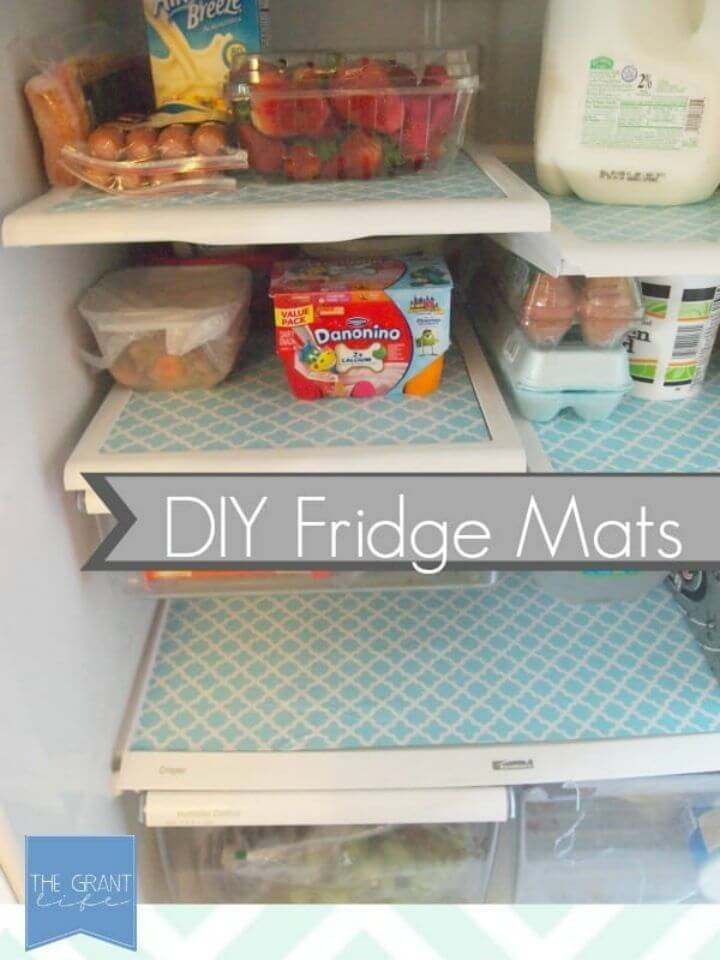 DIY Fridge Mats Using Contact Paper, also decorate your fridges by adding great looking mats that you can make quickly with marble contact paper!