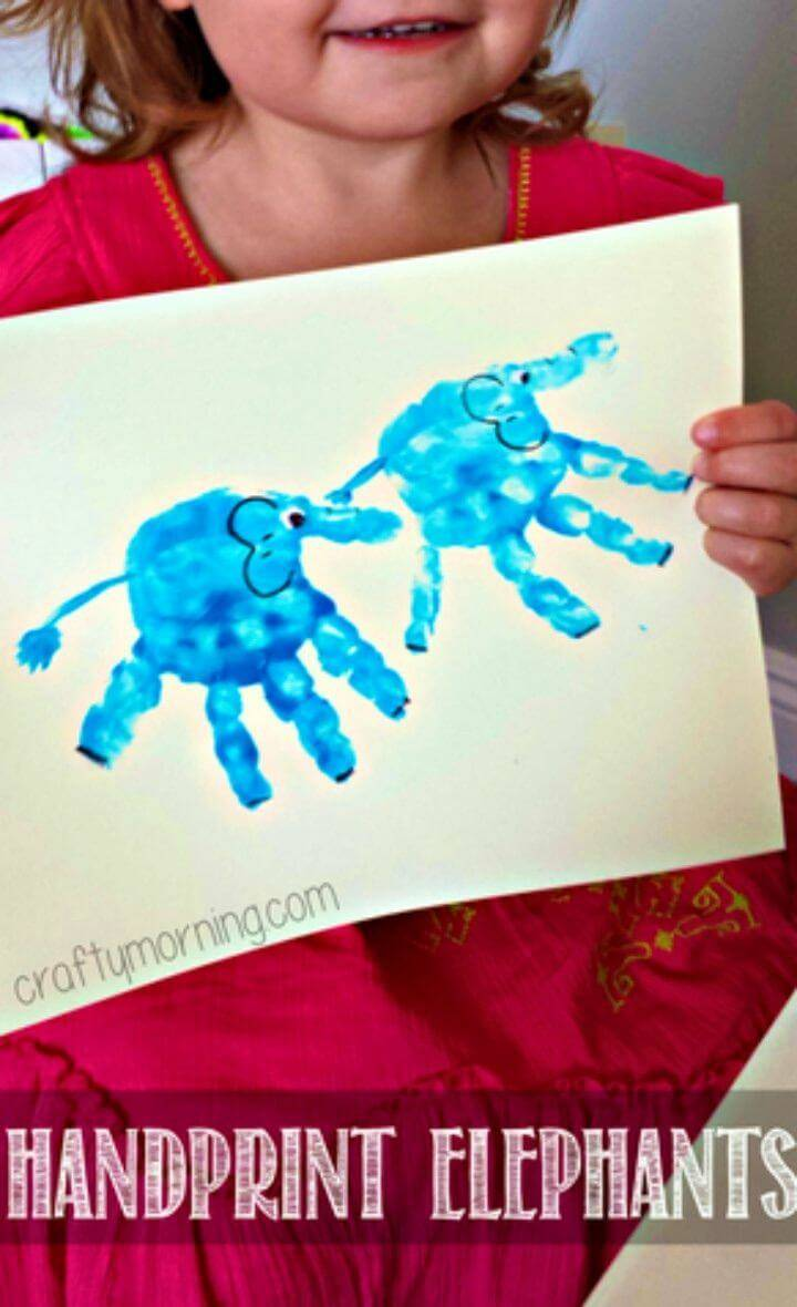 DIY Handprint Elephant kids craft idea