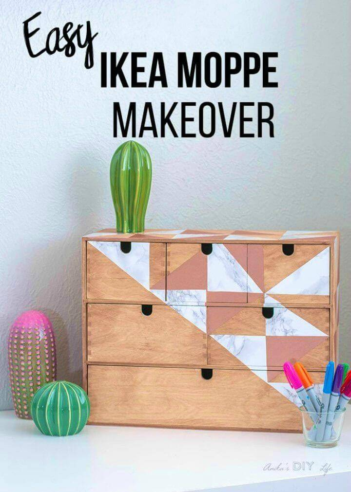 DIY Ikea Moppe Makeover Using Contact Paper, redecorate your furniture and cabinets with the contact paper cut outs!