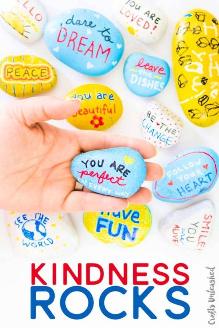 DIY Kindness Rocks with Kids, Rock Painting Crafts for kids!