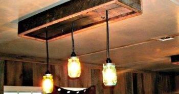 DIY Mason Jar Chandelier With Barn Wood