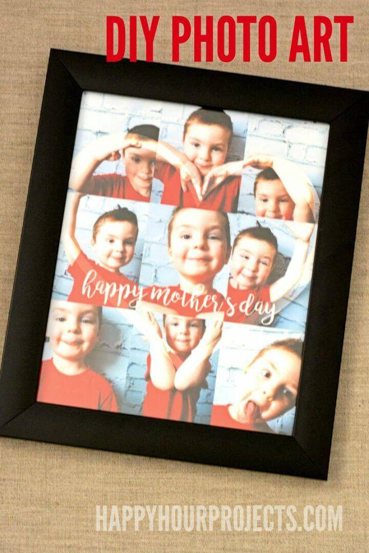 DIY Mother's Day Photo Art Gifts, Put together also the photos making a love heart and then frame them up to gain a Mother's Gift!