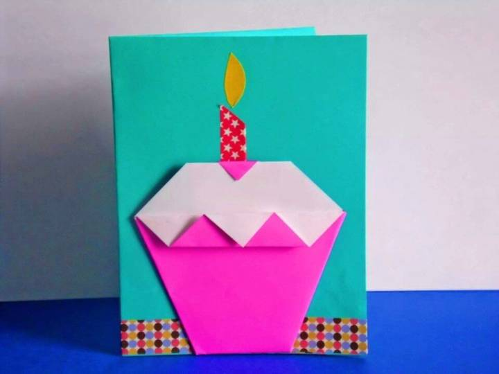 DIY Origami Cupcake Birthday Card, Birthday Card Origami