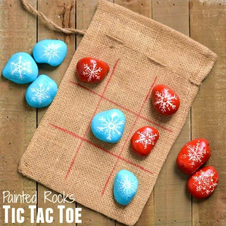 DIY Painted Rocks Tic Tac Toe, easy rock painting ideas for beginners