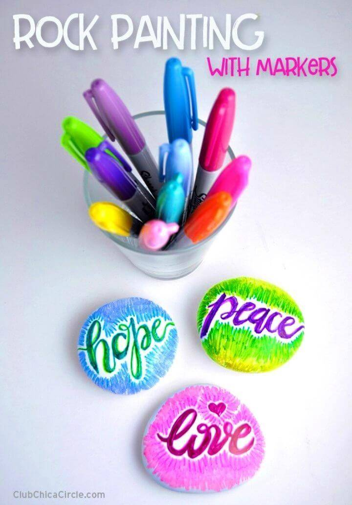 DIY Painting Rocks with Markers, painted rocks with sayings and letters