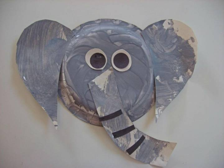 DIY Paper Plate Elephant Craft that comes with googly eyes