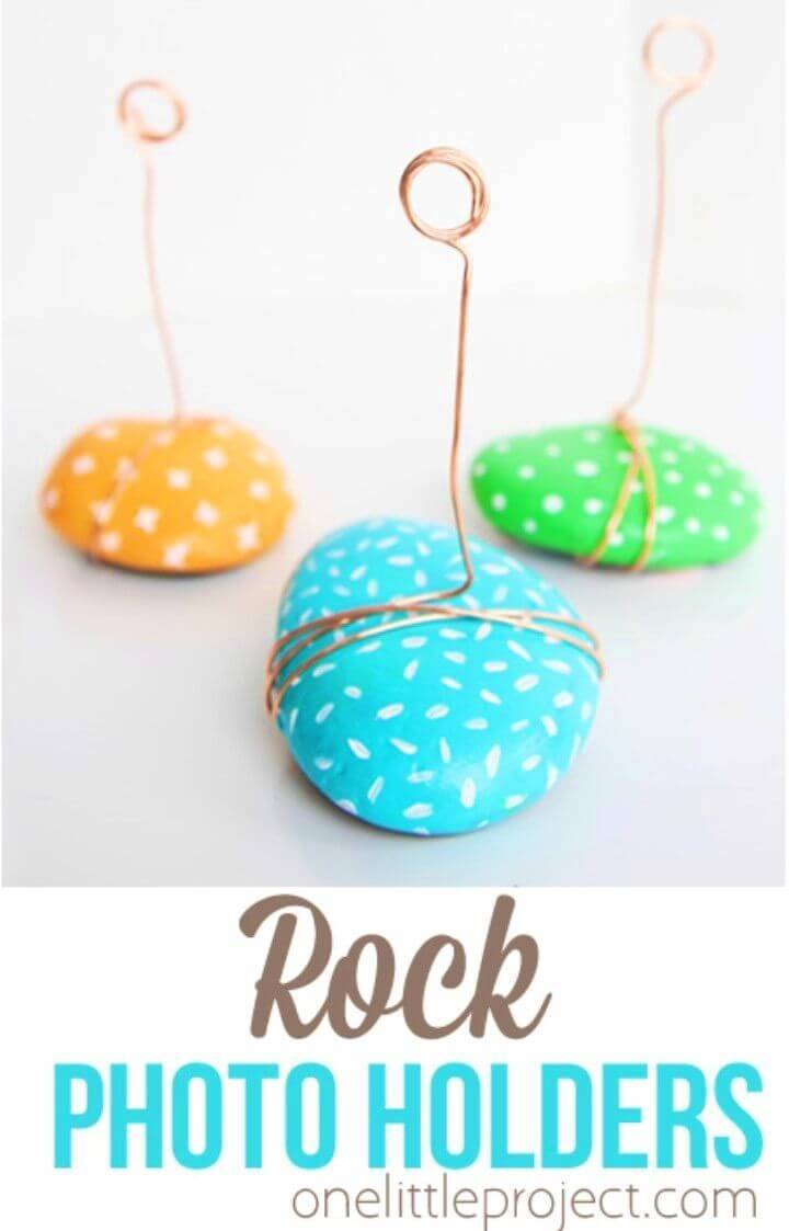 DIY Rock Photo Holders, Painted Rock Projects, Painted Rock Crafts