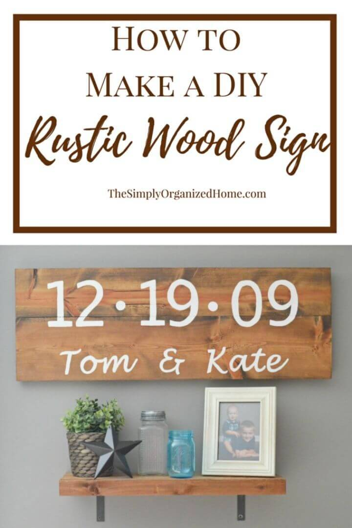 DIY Rustic Wood Sign, grab the rustic wood planks from home and write custom words on them to make lovely rustic wood wall signs!