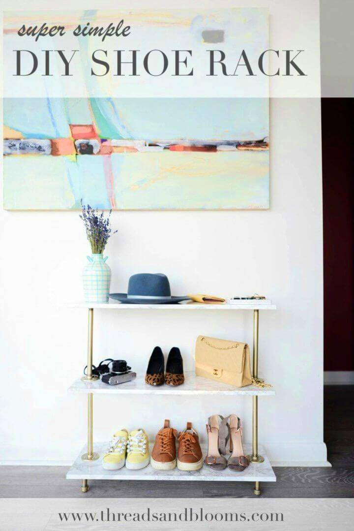 DIY Shoe Rack with Marble Contact Paper, also create a faux marble appeal of your shoe racks using marble contact paper!