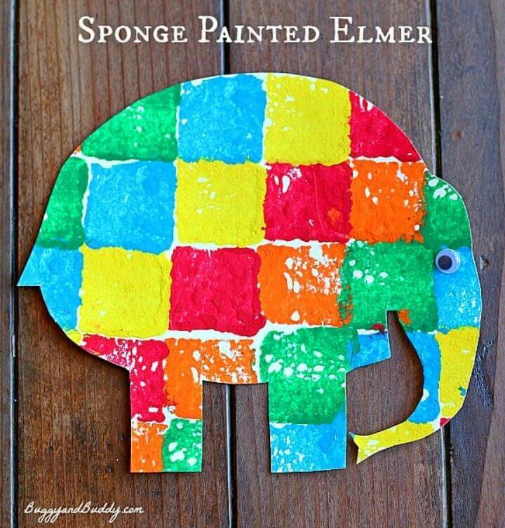 DIY Sponge Painted Elmer the Elephant, another great elephant craft for kids to make at home