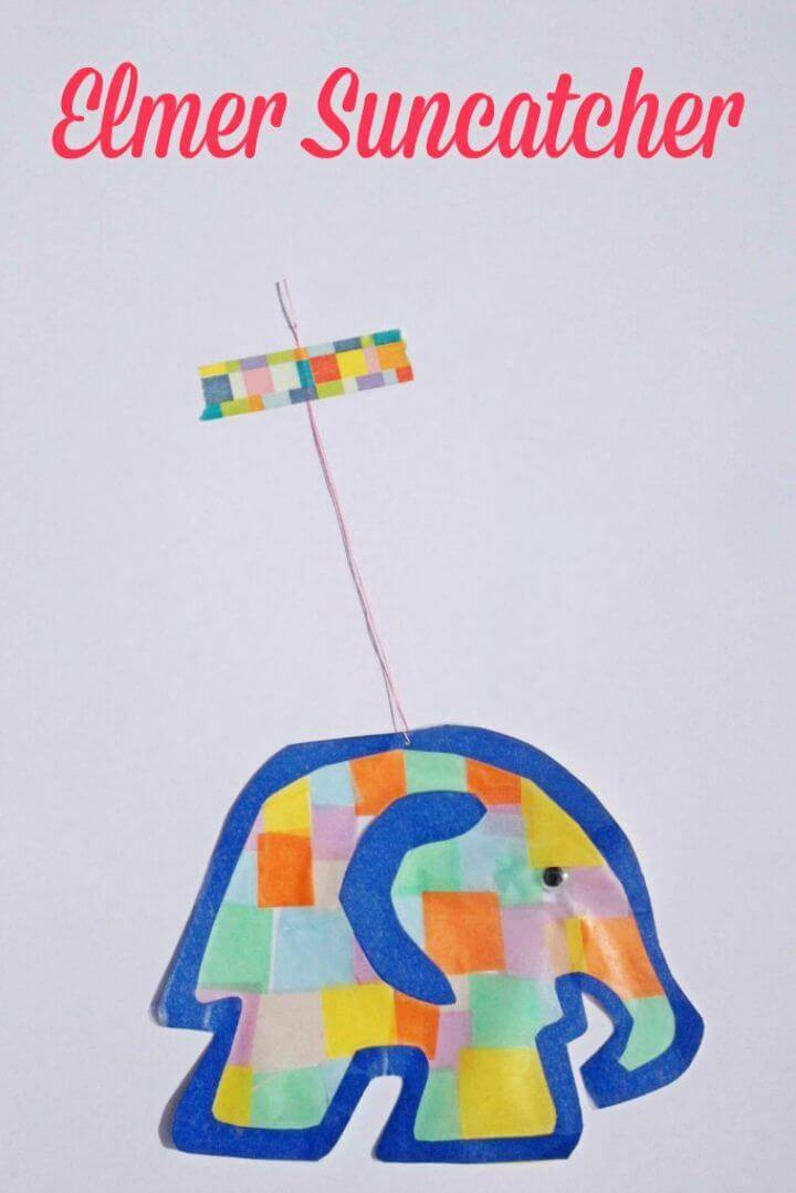 DIY Suncatcher Elmer the Elephant, a cute kids elephant craft to do at home