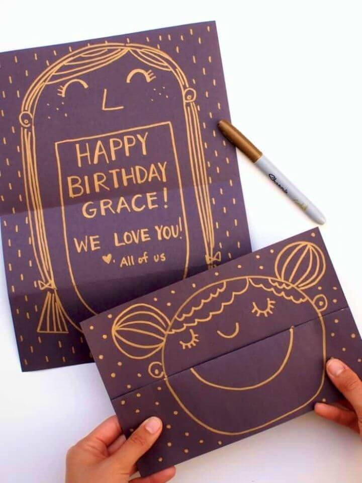 DIY Surprise Smiling Face Birthday Cards, how to make a birthday card
