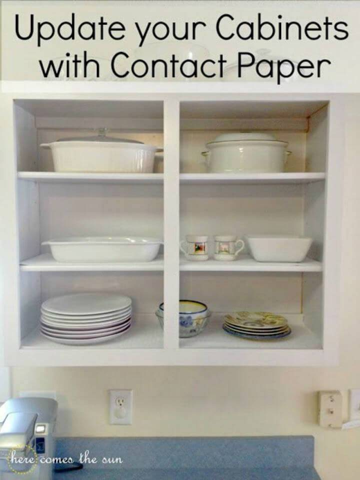 DIY Update Cabinets with Contact Paper, also reface the cabinets with the contact paper so they will look brand new!