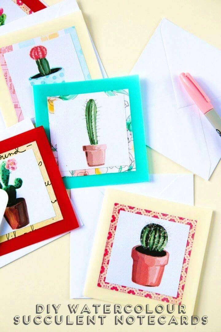 DIY Watercolour Succulent Notecards, Creative Handmade Birthday Cards