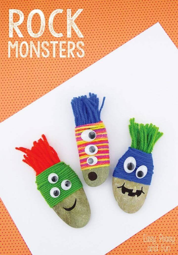 DIY Yarn Wrapped Rock Monsters Rock Craft, painting rocks for garden