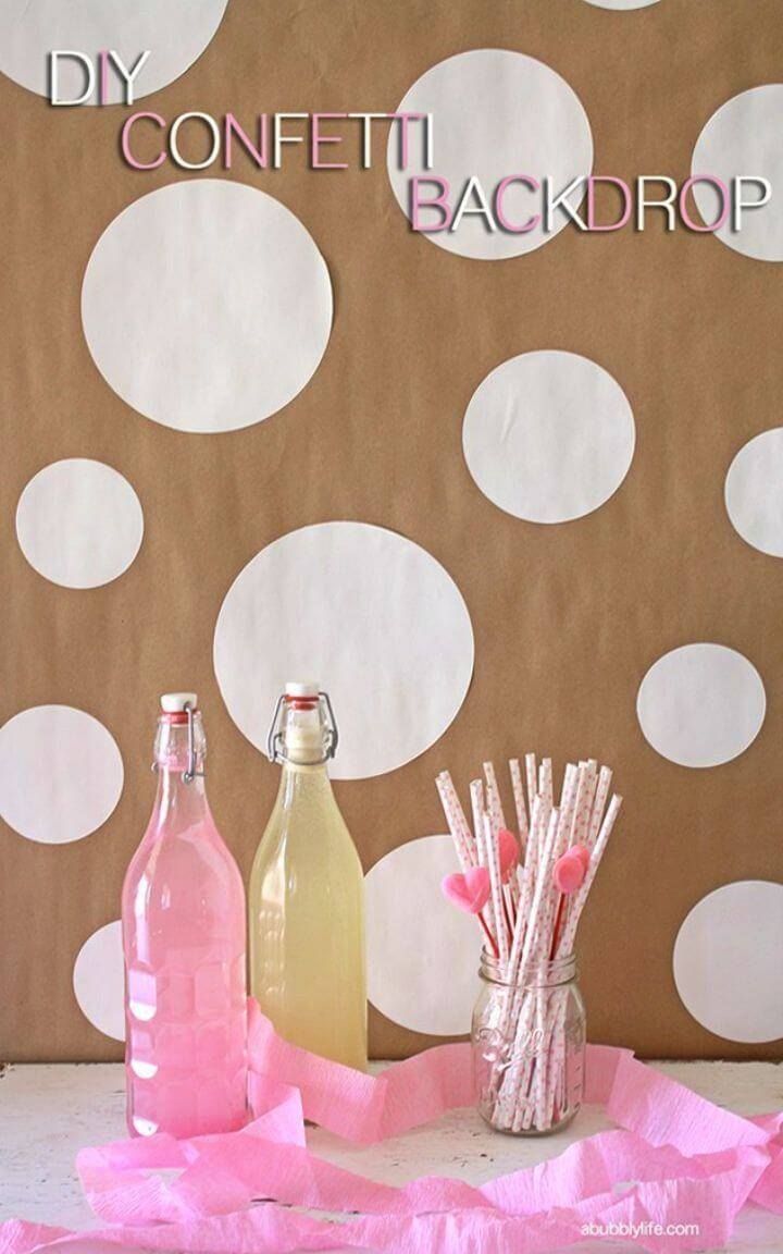 Easy DIY Confetti Party Backdrop, adhere the assorted sizes of contact paper circles on the wall as polka dots and then use the polka dotted walls as a great backdrops