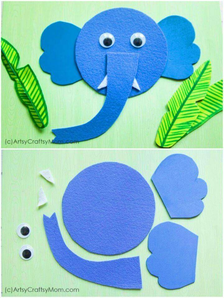 Easy DIY Elephant Craft with Printable Template, A perfect wild animal decor or art to make at home!