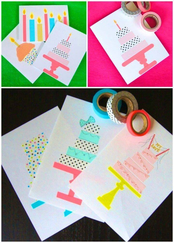 Easy DIY Washi Tape Birthday Cards, handmade birthday card