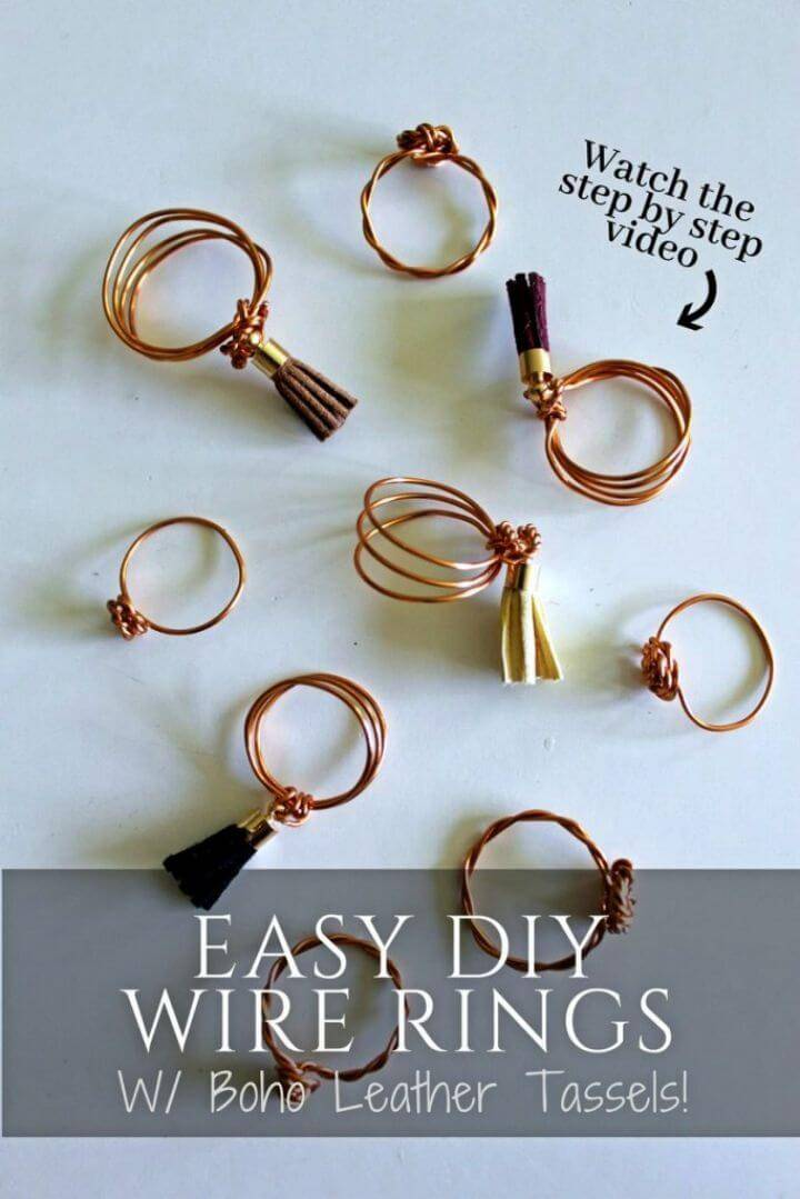 Easy DIY Wire Ring with Leather Tassels, simple twist and coil the metal wire to make these boho rings and then adorn with tassels!