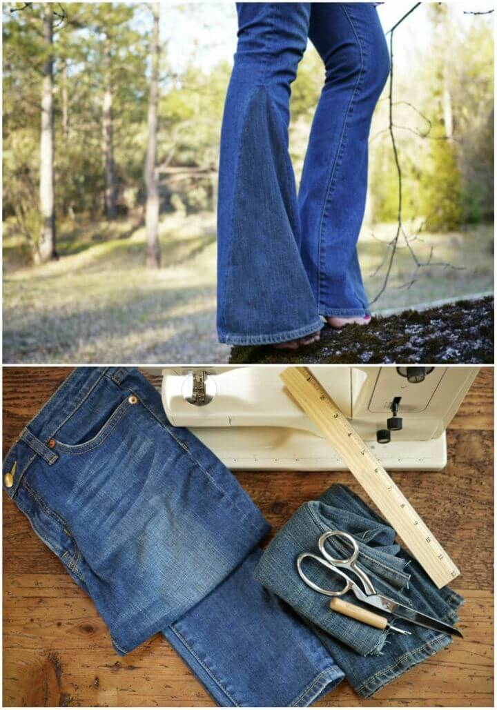 Easy to Make Bell Bottoms, resew the denim jeans with bell bottoms and they will look boho fashion inspired