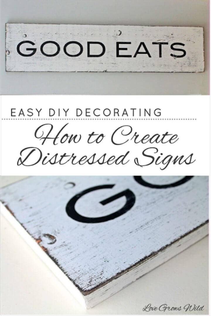 Easy to Make Distressed Signs, bring the rusticity to any interior by adding this distressed wood quoted sign!