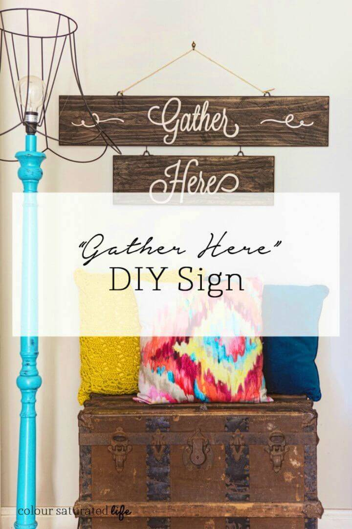 Easy to Make Gather Here Sign, also make the special signs for the parties and gatherings using the recycled wood planks which can be painted and easily overwritten!
