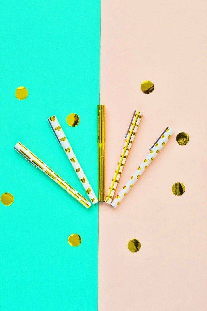 How to Make Assorted Golden Pens, treat also the pens with gold contact paper and create an expensive gold appearance of them
