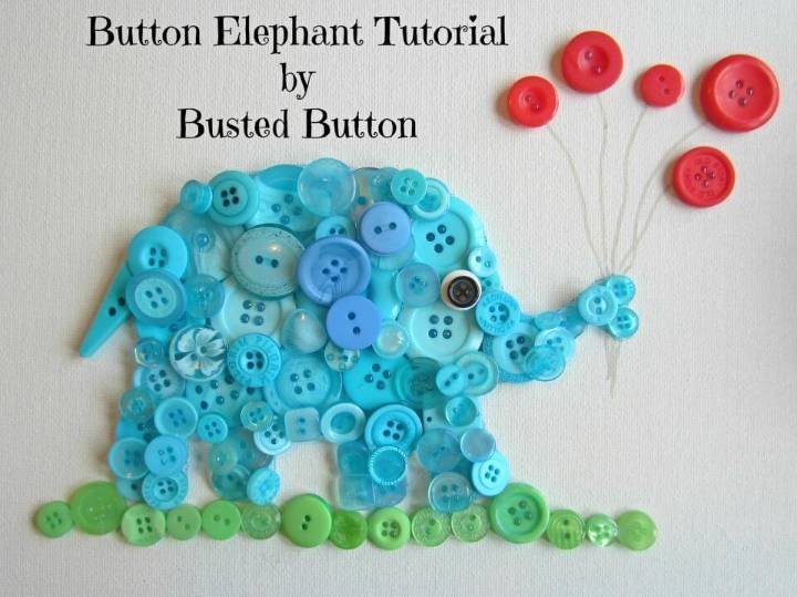 DIY Make Button Elephant Art that will also make a great wall decor and art in kids rooms