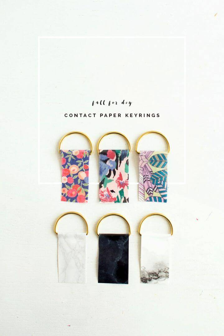 How to Make Contact Paper Key rings, just take the contact paper strips and rings and make lovely contact paper keyrings!