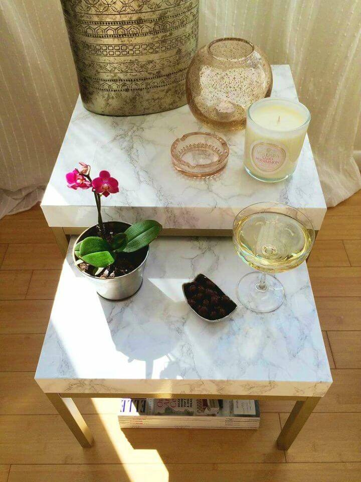 How to Make Contact Paper Table, get your table instantly marbleized using the marble contact paper,