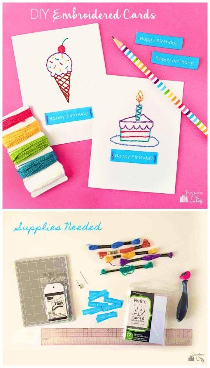 How to Make Embroidered Cards, Creative Handmade Birthday Card