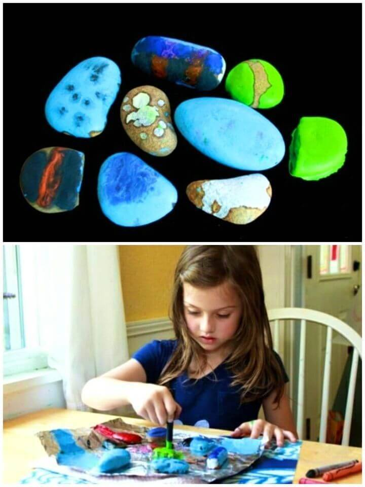 How to Make Melted Crayon Rocks, rock painting ideas for kids