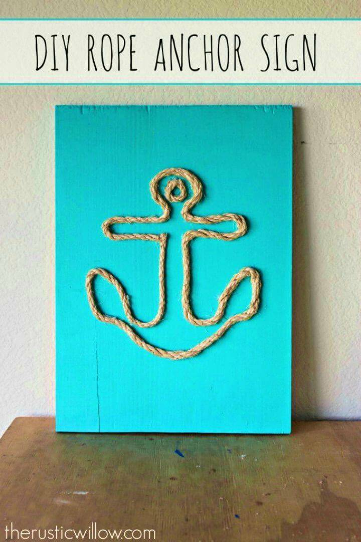 How to Make Rope Anchor Sign, jazz up your beach houses and nautical interior by making rope anchor wall art sign!