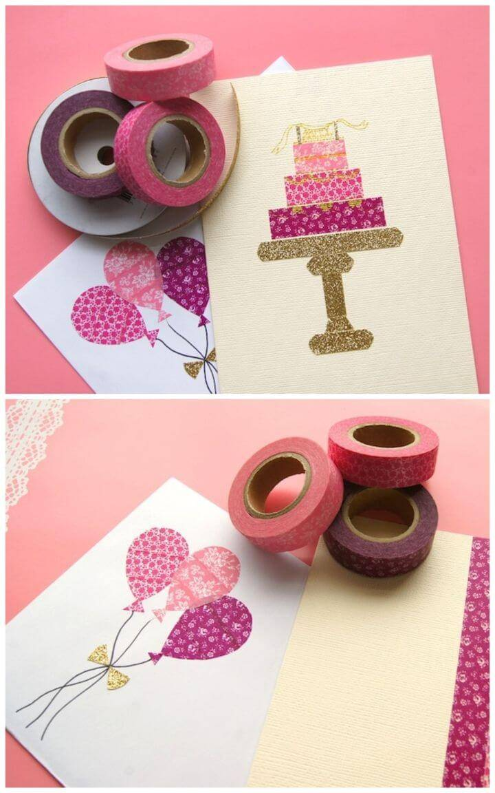 How to Make Washi Tape Birthday Card, DIY birthday card with birthday cake art