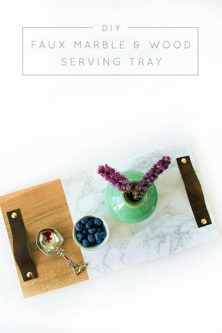 Make Faux Marble and Wood Serving Tray, use the marble contact paper to partially marbleize a wooden tray!