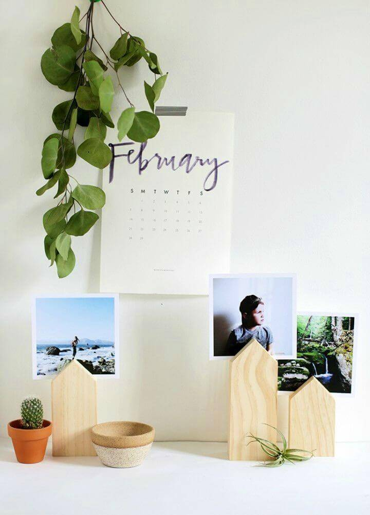 Make House Photo Display, make the wooden photo holders to create lovely display of photos on your tables!