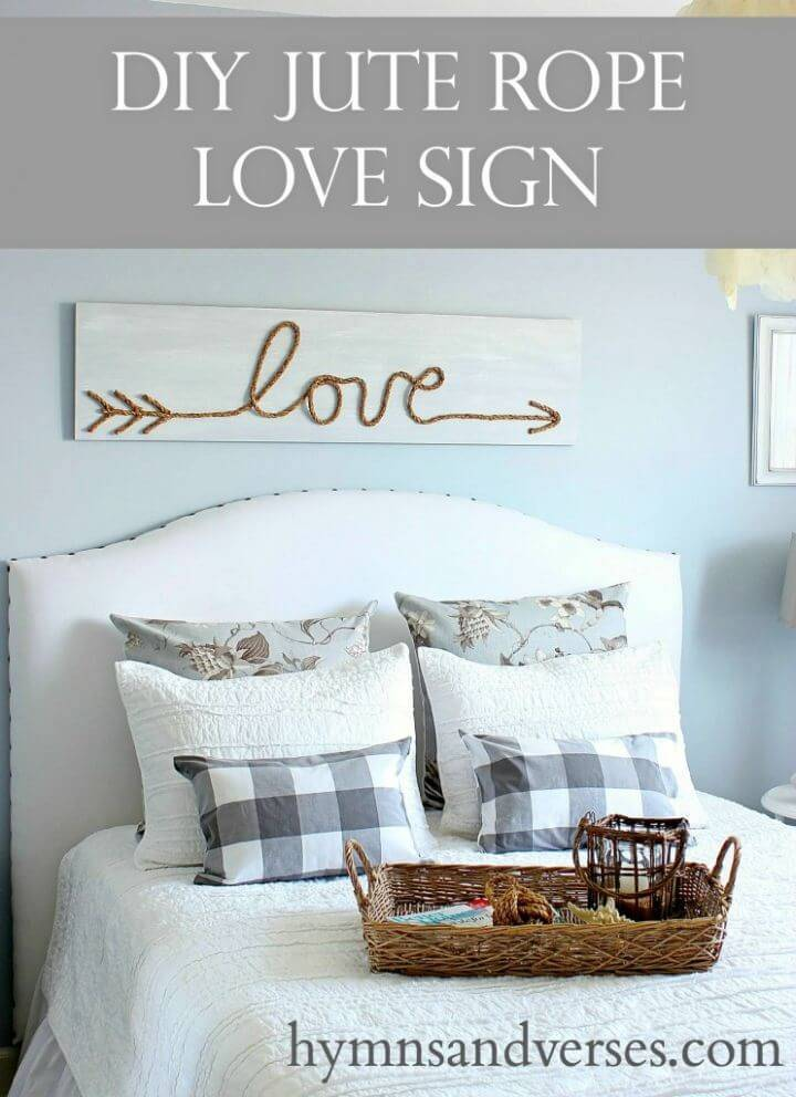 Make Jute Rope Love Sign, create a love statement on any wall by hanging this painted sign that comes with rope love letters!