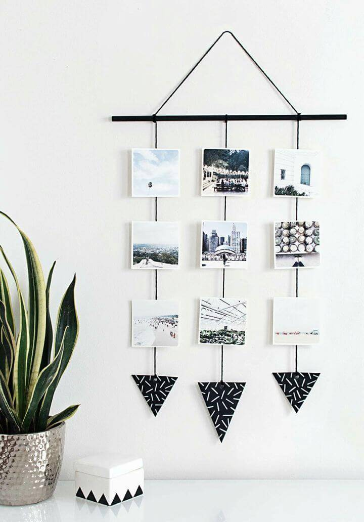 Make Photo Wall Hanging, you will love this way of photo hanging that involves stringing up the phptos and then to add them on the wall like yarn wall hanging!