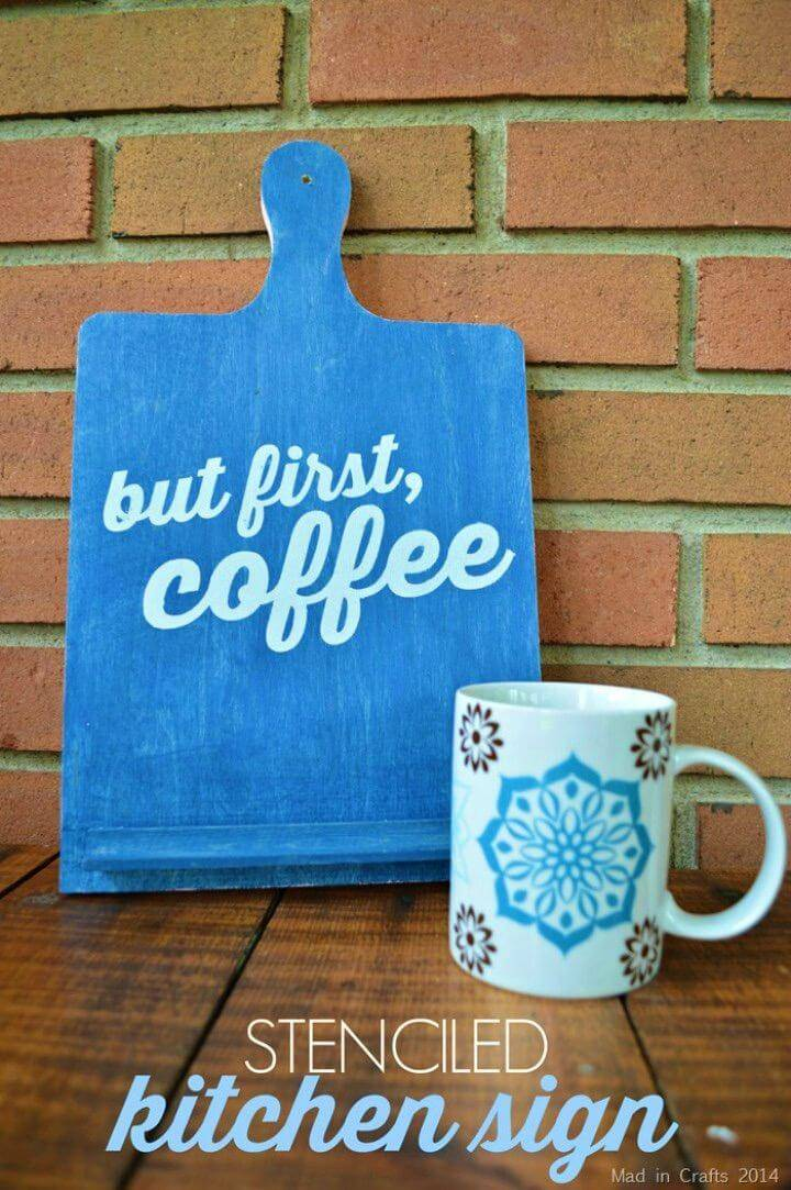 "Make Stenciled ""But First, Coffee"" Sign, also make the special coffee signs for your coffee shops and kitchen!"