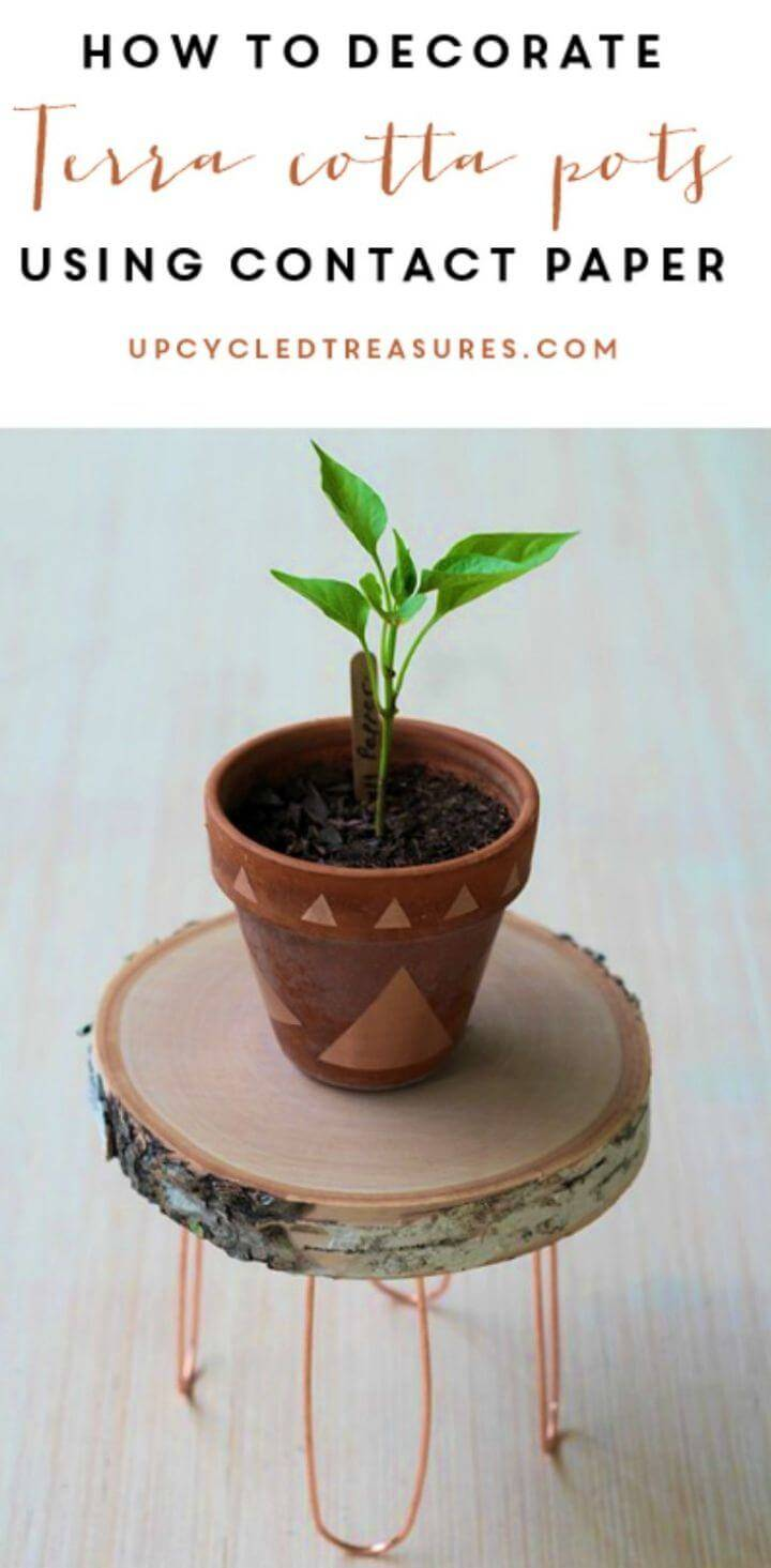 Make Terra Cotta Pots Using Contact Paper, time to jazz up the terracotta pots with a geometrical design pattern using the contact paper cuts outs!