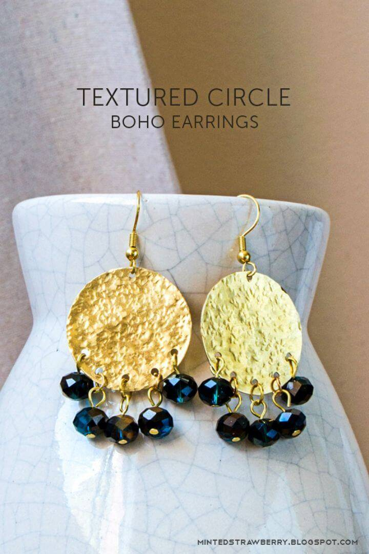 Make Textured Circle Boho Earrings, gilded expensive looking boho earrings to make at home