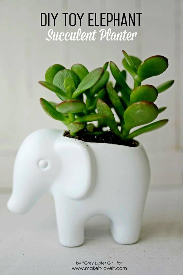 Make Toy Elephant Succulent Planter, A decorative way to give a touch of elephant to your home decors