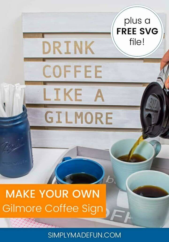 Make a Gilmore Girls Coffee Sign, make slatted wood boards and write coffee quotes on each plank to make Gilmore girls coffee signs!