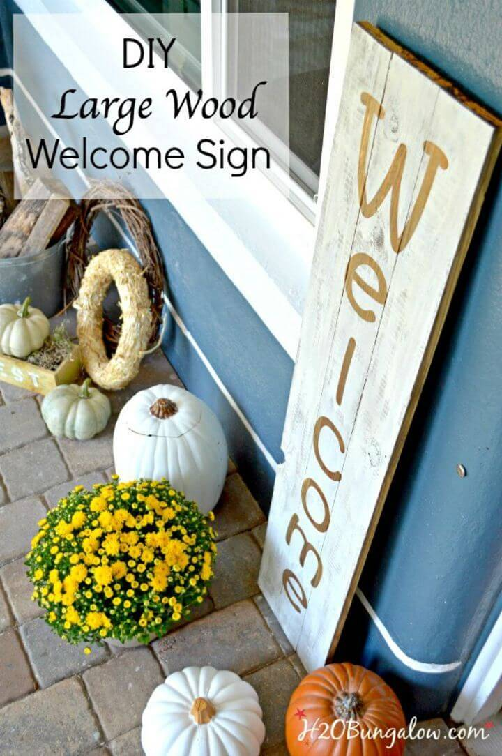Make a Large Wood Welcome Sign, bring also the great decor vibes to your porch with this large wood welcome sign!