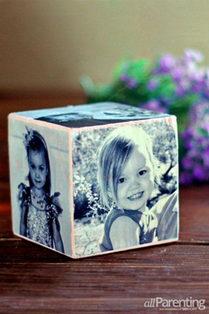 Make a Mother's Day Photo Cube, grab a wooden cube, paste the photos all around it and turn it into a smart Mother's Day Gift!