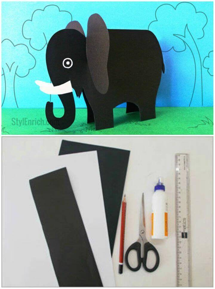 Make a Paper Elephant Craft, black and white paper elephant origami