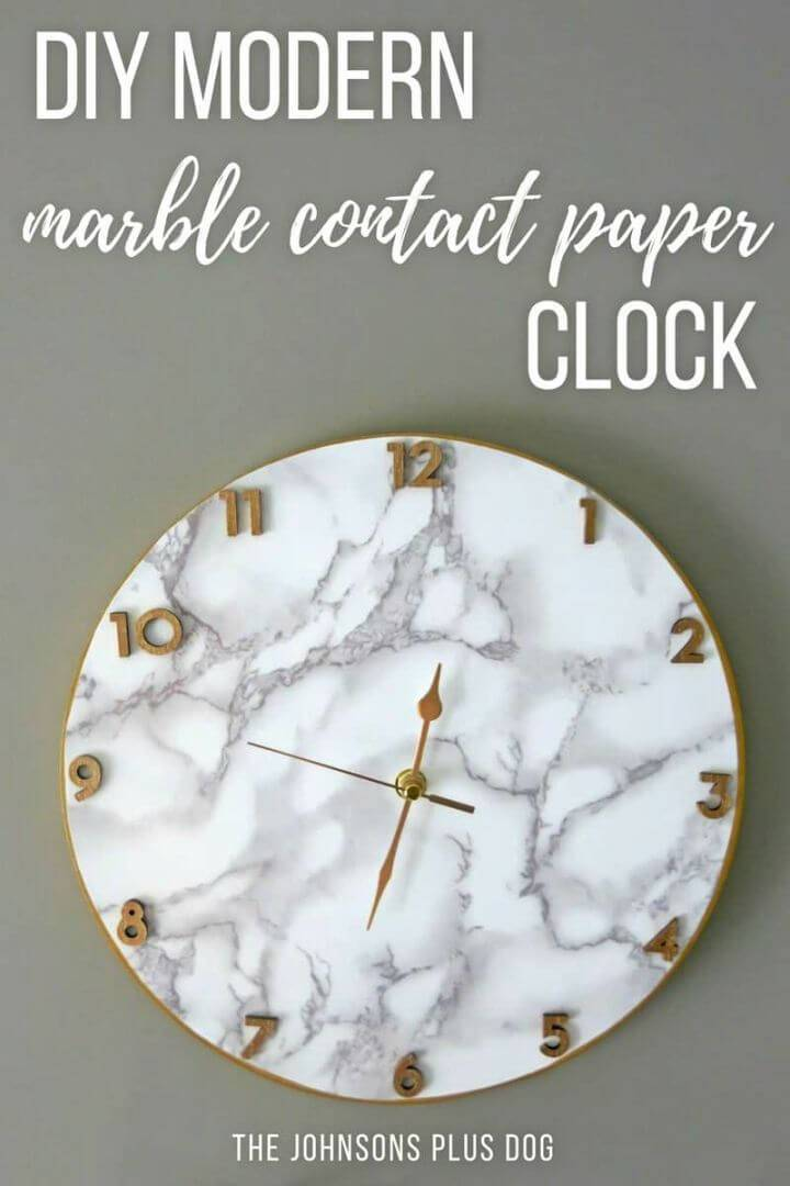 Modern DIY Marble Contact Paper Clock, bring the marble touch to your home by making the marbled wall clocks using marble contact paper