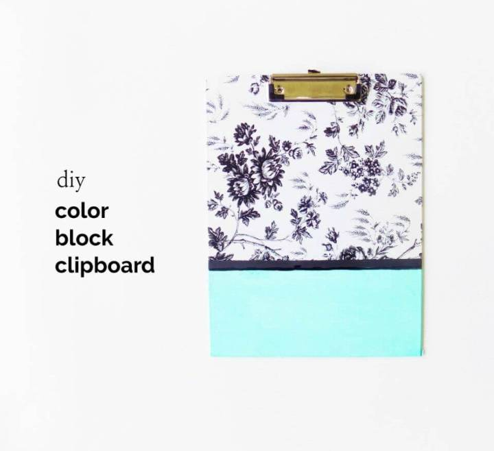 Pretty DIY Color Block Clipboard, use different contact papers and make the colorblock clipbaords that will also make a great gift!