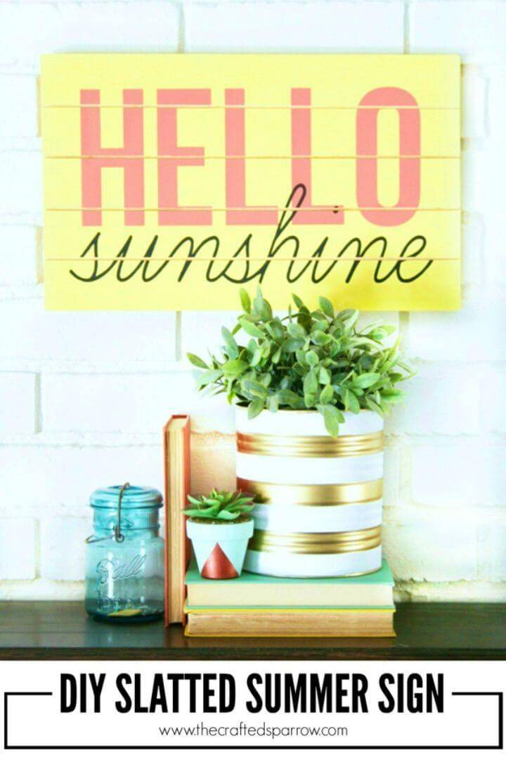 Pretty DIY Slatted Summer Sign, recycle the wood planks from home and make gorgeous wall art signs out of them using paint and letter stencils!