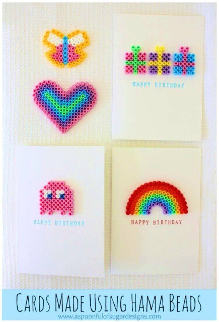 Quick DIY Birthday Cards Using Hama Beads, romantic DIY Birthday card ideas